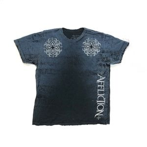 Affliction Short Sleeve Blue Tee Large